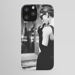 Audrey Hepburn in Black Gown, Jewelry, Vintage Black and White Art iPhone Case