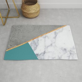 MARBLE TEAL GOLD GRAY GEOMETRIC Rug