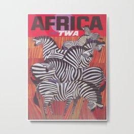 Africa Zebras Vintage Travel Poster Metal Print