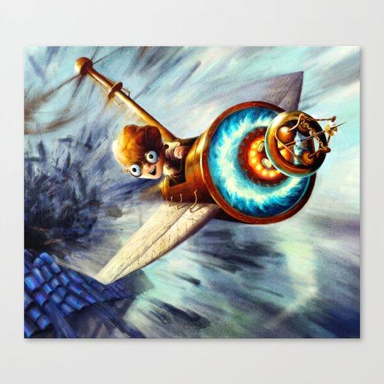 Boy Flying Away in a Plane Canvas Print