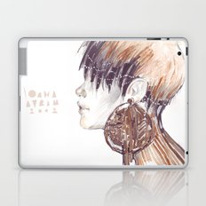 Fashion illustration profile portrait gold black white markers and watercolors Laptop & iPad Skin