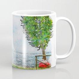 Aquarelle sketch art. Beautiful blue lake and lonely tree Tuscany, Italy Coffee Mug