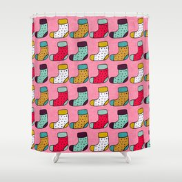 Christmas Stockings Pink #Christmas Shower Curtain