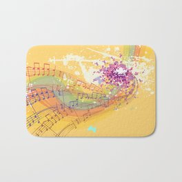 Retro Rainbow and Music Notes Exploding on a Yellow Background Bath Mat