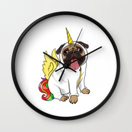"""""""Unipug Pug Unicorn"""" Certified Dog Lover? Here's a cute t-shirt design Pug Dog Lover Owners Wall Clock"""