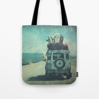 never stop exploring Tote Bags featuring NEVER STOP EXPLORING II by Monika Strigel