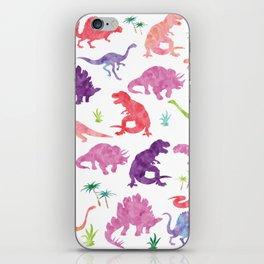 Watercolor Dinosaur Silhouette Pattern Purple Pink Green iPhone Skin
