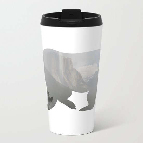 Grizzly Bear with Yosemite Photo Inlay Metal Travel Mug