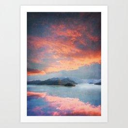 Sunset Over Lake Como Italy Art Print