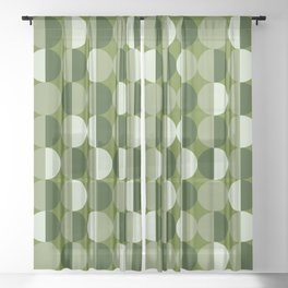 Retro circles grid green Sheer Curtain