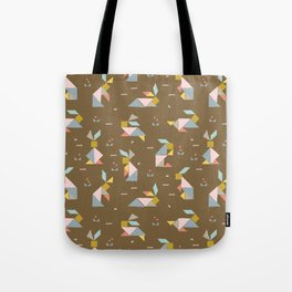 Tangram Bunnies M+M Nutmeg by Friztin Tote Bag