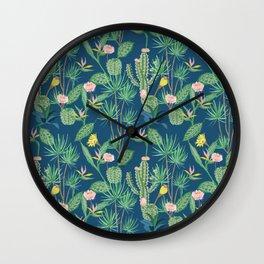 Cactus Flowers on Indigo Background Wall Clock