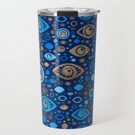 Greek Evil Eye pattern Blues and Gold Travel Mug