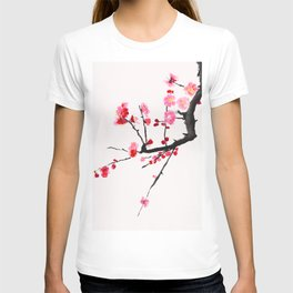 red plum flower red background T-shirt