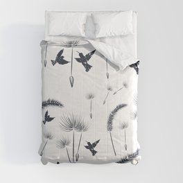 Floral dandelion pattern with flowers and birds Comforters