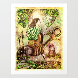 A Girl and Her Guitar  Art Print