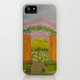Beyond The Gate Acrylic Painting by Rosie Foshee iPhone Case