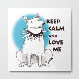 cartoon style dog keep calm and love me Metal Print