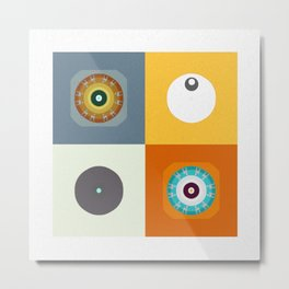 Retro Color Therapy Geometric Mandala Minimalist Print Metal Print