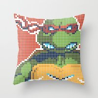 teenage mutant ninja turtles Throw Pillows featuring Teenage Mutant Ninja Turtles - Raphael by James Brunner