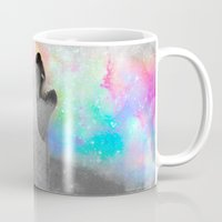 hobbes Mugs featuring Breathing Dreams Like Air (Wolf Howl Abstract II: Gray) by soaring anchor designs