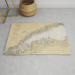 Vintage Map of The Long Island Sound (1934) Rug