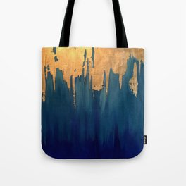 Gold Leaf & Blue Abstract Tote Bag