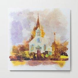St.Joseph Church Tillamook, Oregon - Digital Watercolor Metal Print