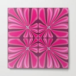 Tropical Fuchsia Floral Block Print Metal Print