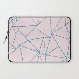 Ab Dotted Lines Blue on Pink Laptop Sleeve