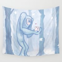 yeti Wall Tapestries featuring Yeti Love by Kaz Palladino