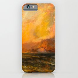 Majestic Golden-Orange Sunset Over the Troubled Atlantic Ocean landscape by Thomas Moran iPhone Case