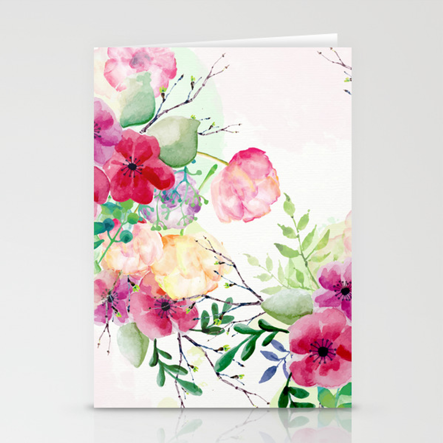 Vintage Flowers Watercolor Floral Painting Stationery Cards By