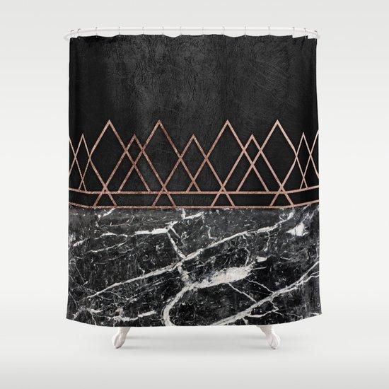 Elegant Bathroom Rose: Elegant Rose Gold Triangles & Black & White Marble Shower