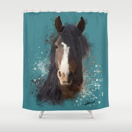 Black Brown Horse Artwork Shower Curtain
