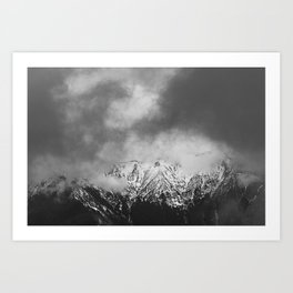 Black and white mountains in clouds Art Print