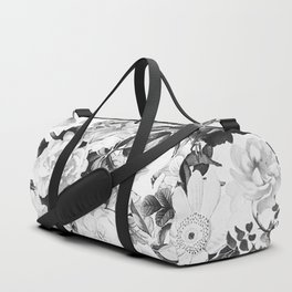 Black gray modern watercolor roses floral pattern Duffle Bag