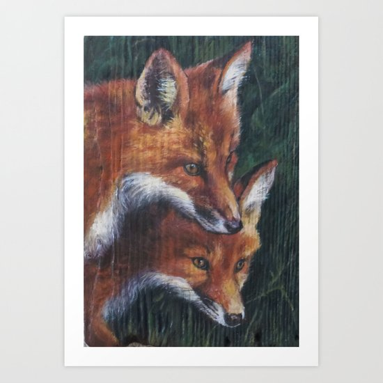 Two Foxes Art Print