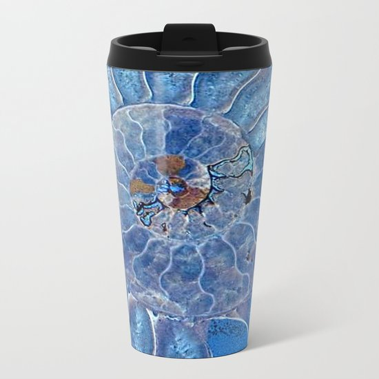 Blue seashell -mother-of-pearl - Beautiful backdrop Metal Travel Mug