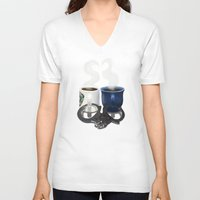 writer V-neck T-shirts featuring Writer and Detective  by Edite Kirse