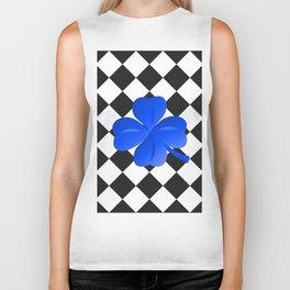 Diamonds Pattern black with clover blue Biker Tank