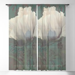 Poppies en Verdigris Sheer Curtain