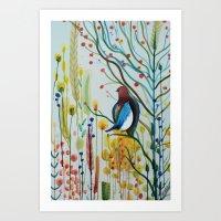 sous les branches Art Print