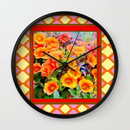 Decorative Red Pink Lattice Yellow Petunias Garden Wall Clock