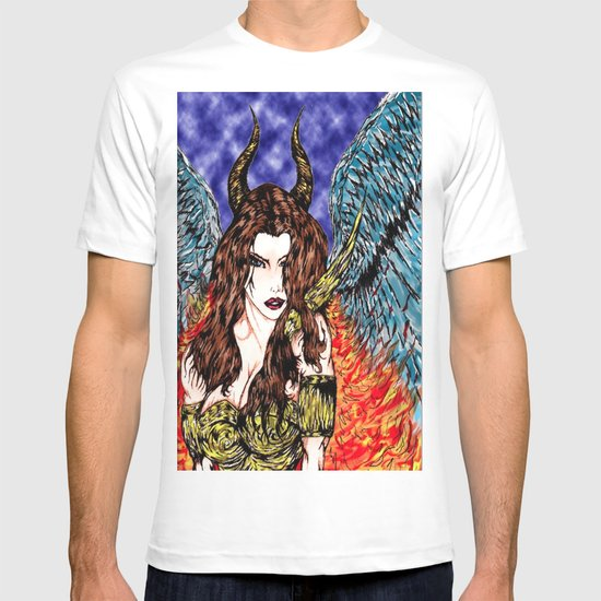 angel or demon in color T-shirt