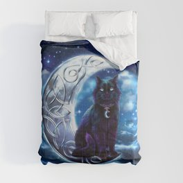 Black Cat Celtic Crescent Moon Comforters