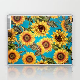 Vintage & Shabby Chic - Sunflowers on Turqoise Laptop & iPad Skin