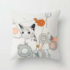Cat Scammer Throw Pillow