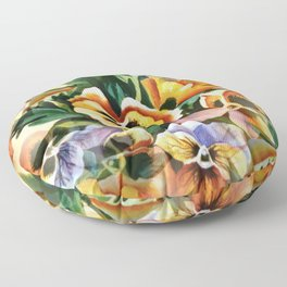 Aesthetic Pansies Watercolor Illustration Floor Pillow