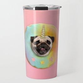 Unicorn Pug Pastel Donut Travel Mug